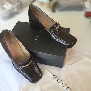 Authentic Gucci Women's Dark Brown Leather Loafers